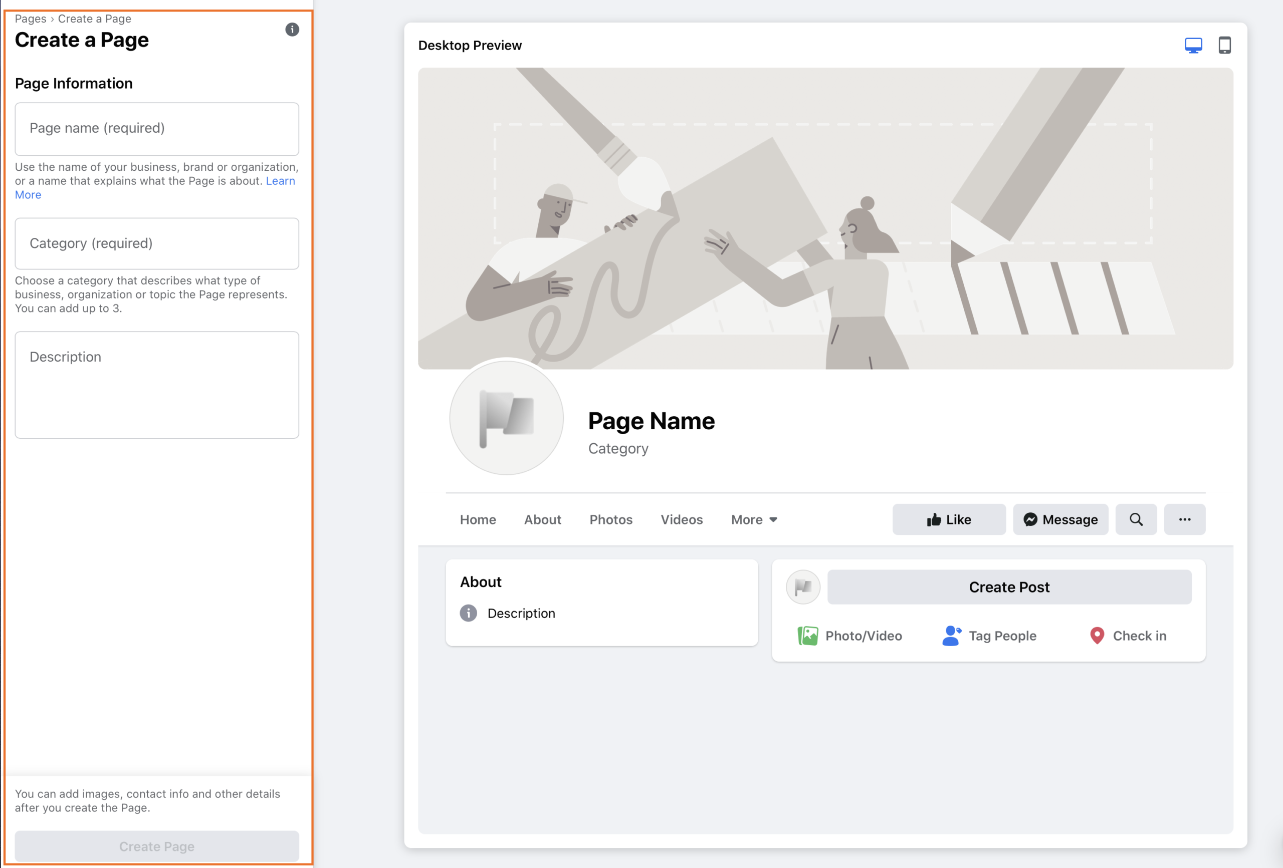 Facebook Create a Page information