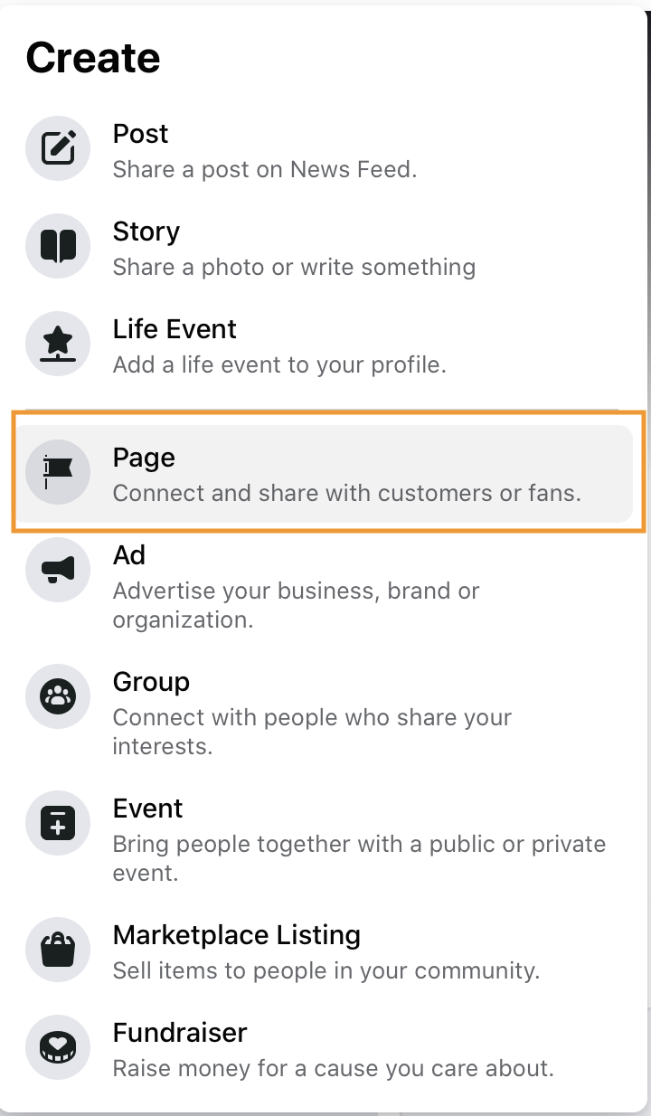 Facebook create a page dropdown